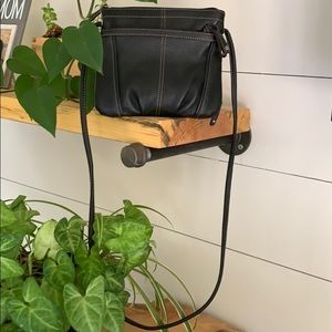 Tignanello Crossbody Bag with Wallet Black Leather